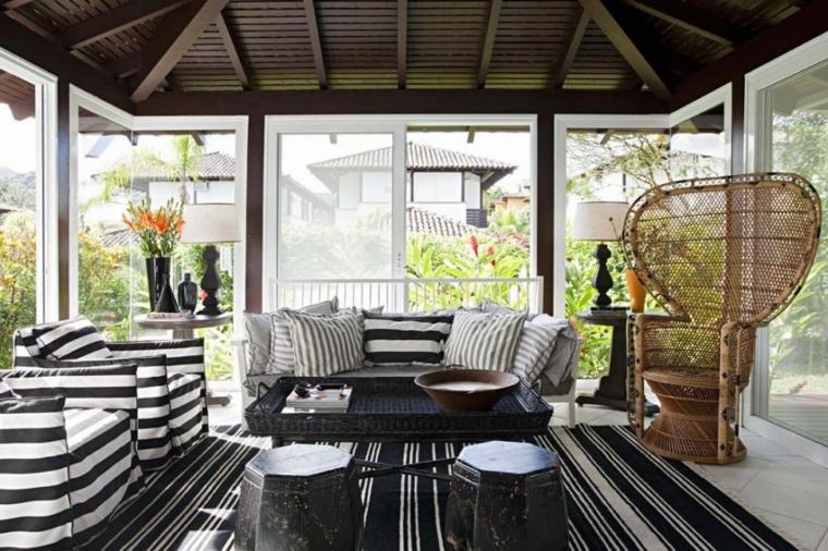 come arredare un giardino d inverno divano in tessuto decorazione con tappeto