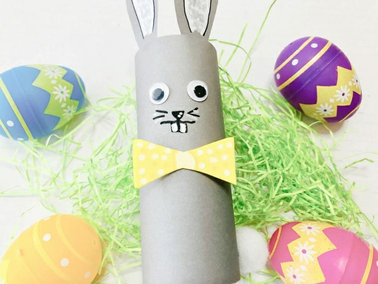 coniglietto di carta con fiocco creazioni con rotoli di carta igienica uova pasquali decorate