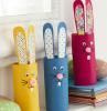creazioni con rotoli di carta igienica coniglietti con orecchie decoratre con nastro washi tape