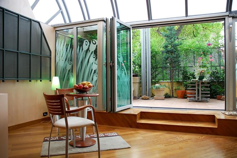 giardino d inverno fai da te pavimento in legno parquet arredamento con sedia e tavolo