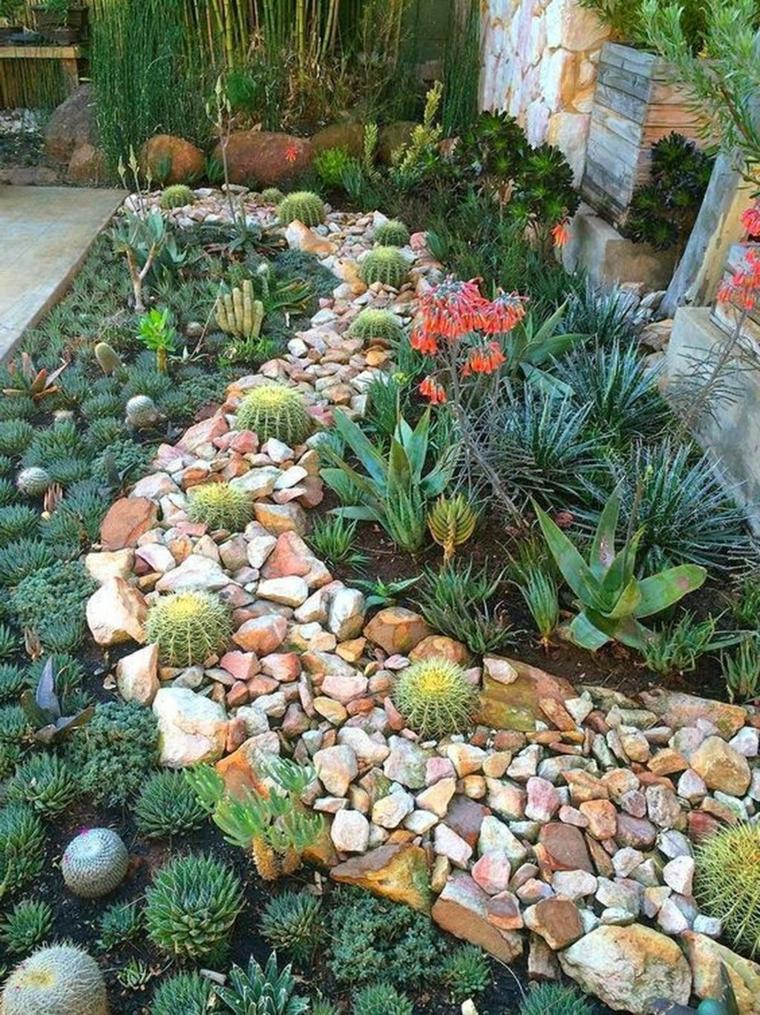 idee per aiuole giardino fai da te decorazione con sassi e piante grasse