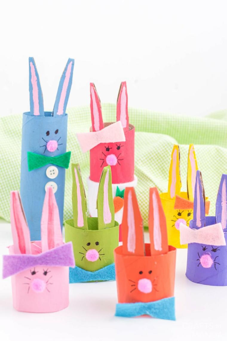 lavoretti di pasqua fai da te coniglietti di rotoli di carta decorati con orecchie