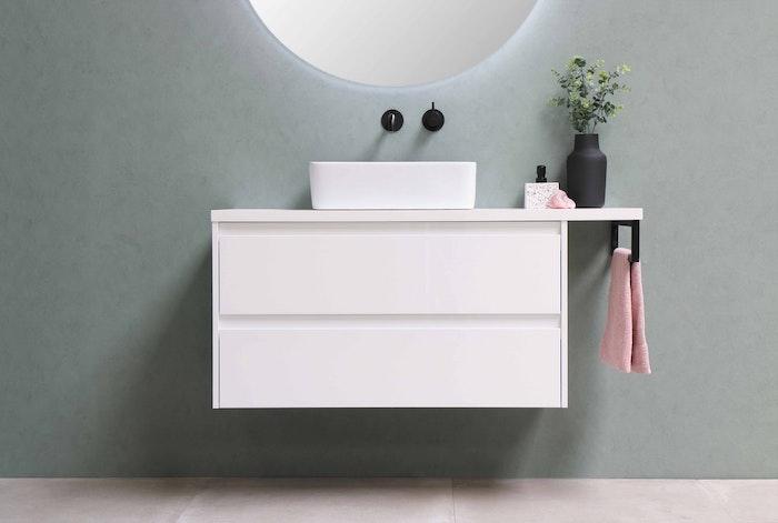 mobile bagno sospeso bianco mobile bagno muro verde pastello