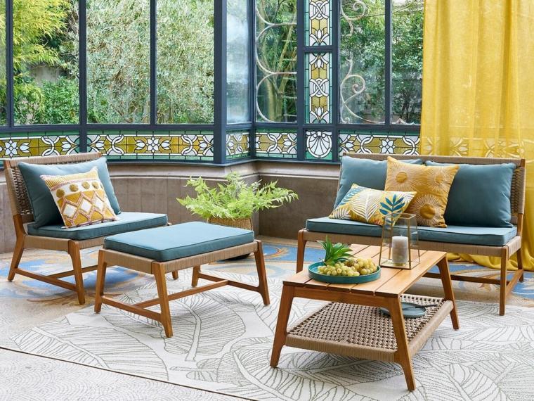 salon de jardin bas corde et bois coussins vert la redoute interieurs ete 2020 ©