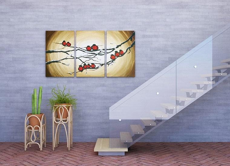 scale con ringhiera in vetro decorazione parete con poster colorato