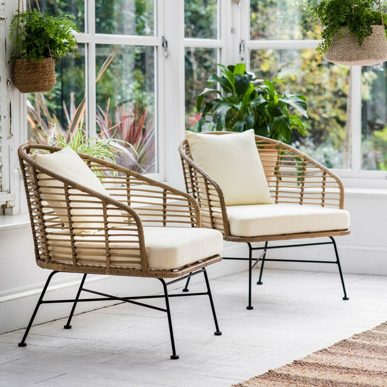 sedie da giardino in bamboo verande esterne moderne decorazione con vasi di piante