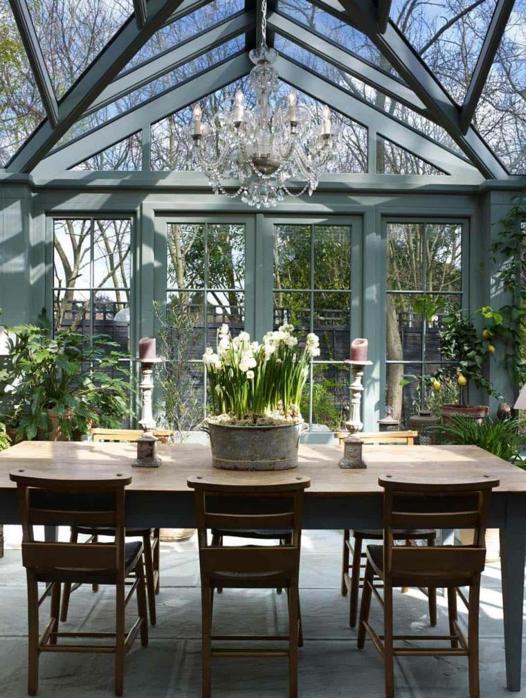 set tavolo da pranzo in legno da esterno veranda coperta con vetrate