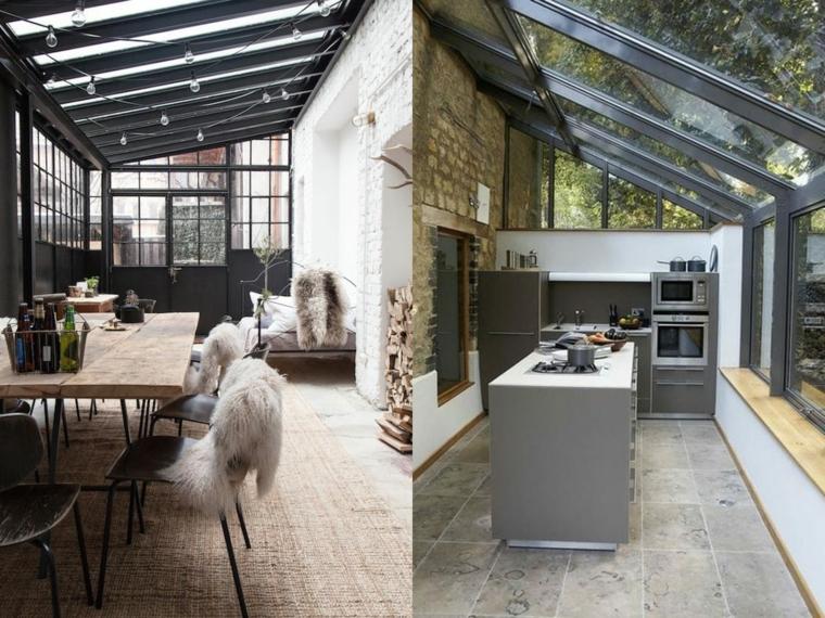 veranda abitale con cucina e sala da pranzo soffitto in vetro e porte scorrevoli