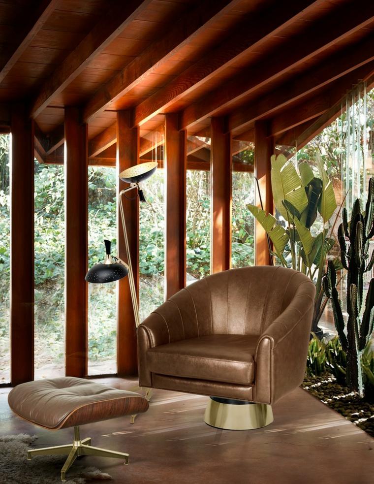 veranda con soffitto in legno pendente arredamento con poltrona in pelle giardino coperto