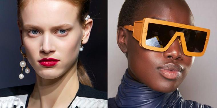 accessori moda autunno inverno 2021 2022 occhiali da sole arancione orecchini con perle
