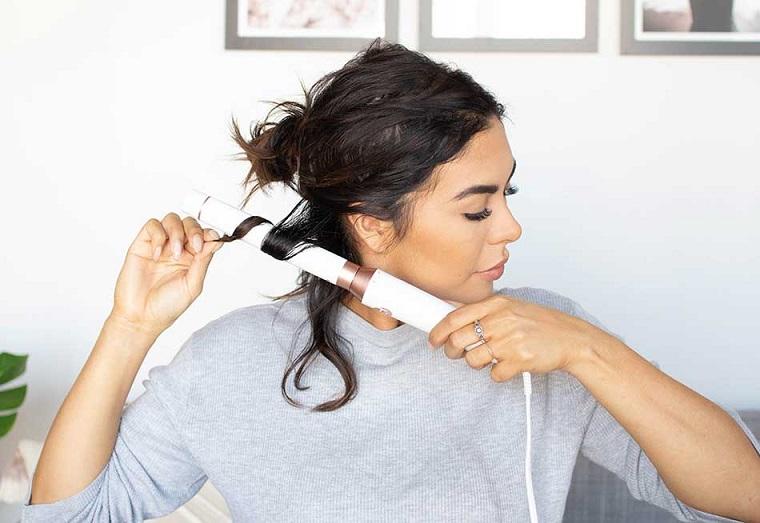 acconciature da sera facili arricciare i capelli con ferro taglio long bob mosso