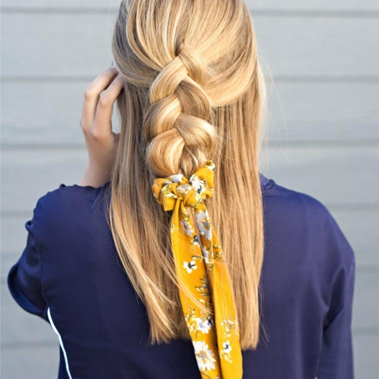 acconciature da sera facili semiraccolto capelli biondi con treccia