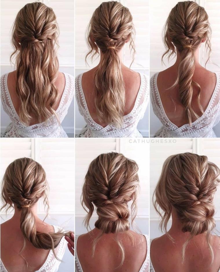 acconciature facili e veloci donna con capelli biondi legati raccolto mosso