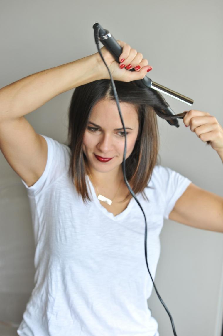 acconciature fai da te capelli corti arricciare con ferro acconciatura caschetto di colore castano