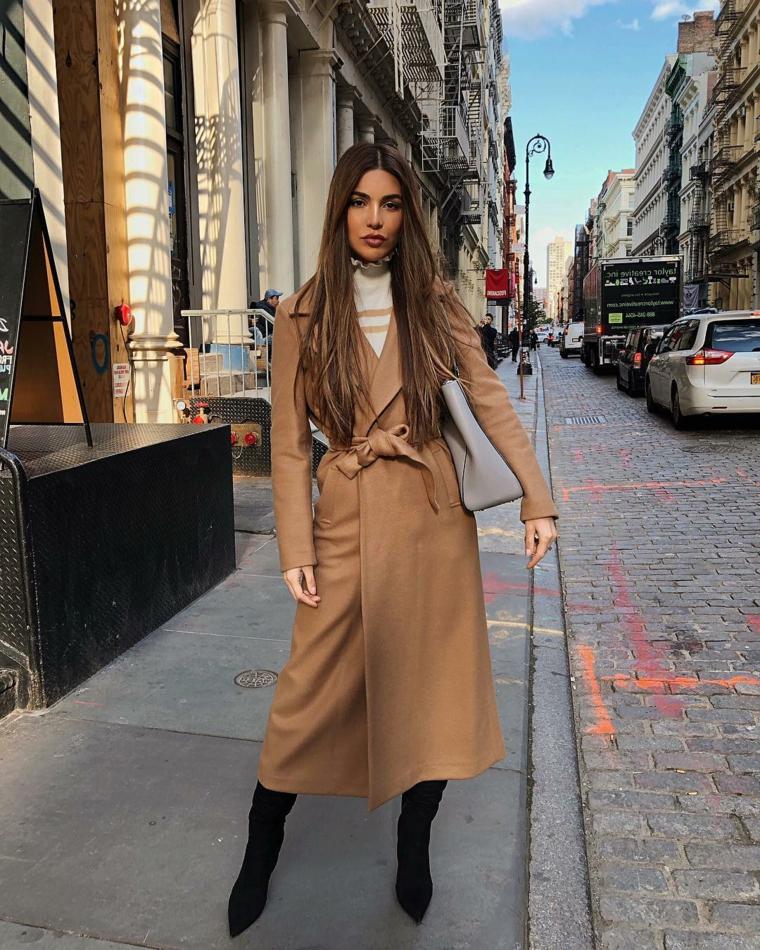 anticipazione moda autunno inverno 2021 2022 cappotto marrone con cintura