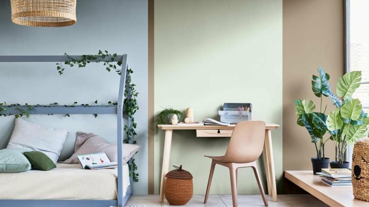 cameretta con scrivania in legno colori pareti 2021 camera da letto