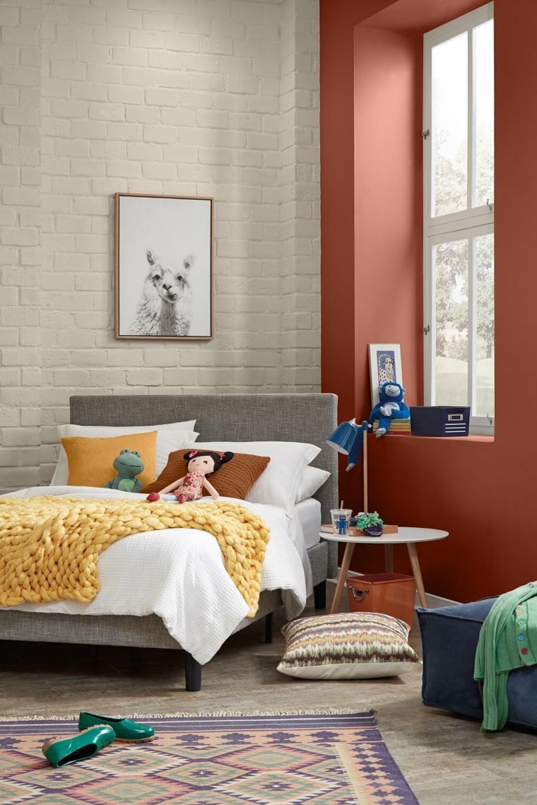 che colore pittura la camera da letto abbinamento di bianco e rosso terra