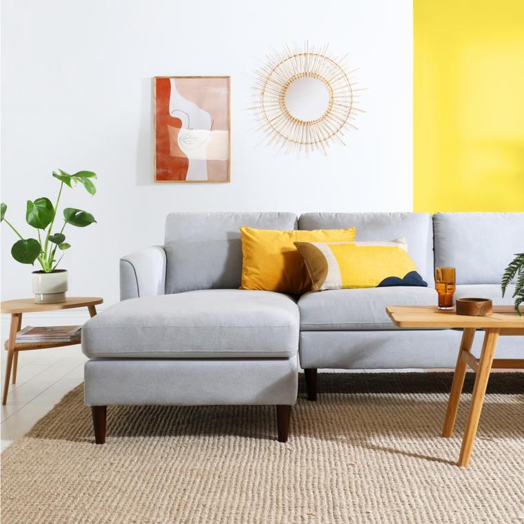 colori pantone giallo e grigio idee pittura pareti soggiorno di due tonalità