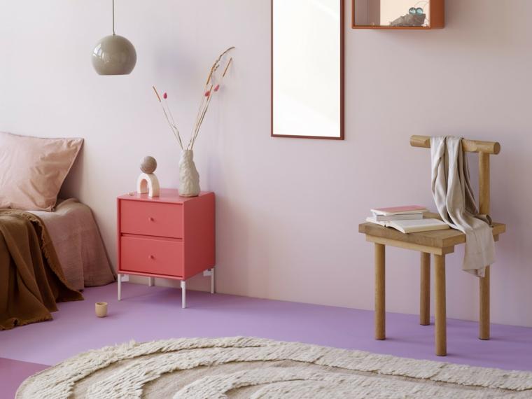 colori pareti 2021 camera da letto muro tinteggiato di viola chiaro