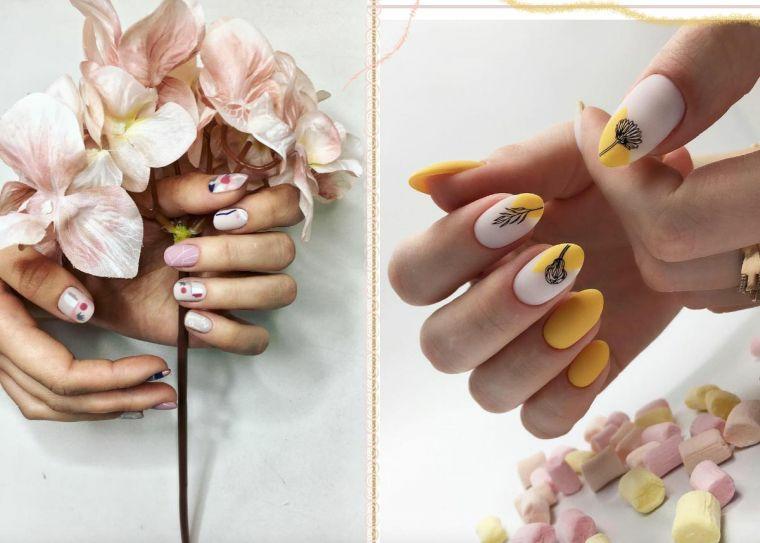 colori ricostruzione unghie smalto giallo con disegni floreali