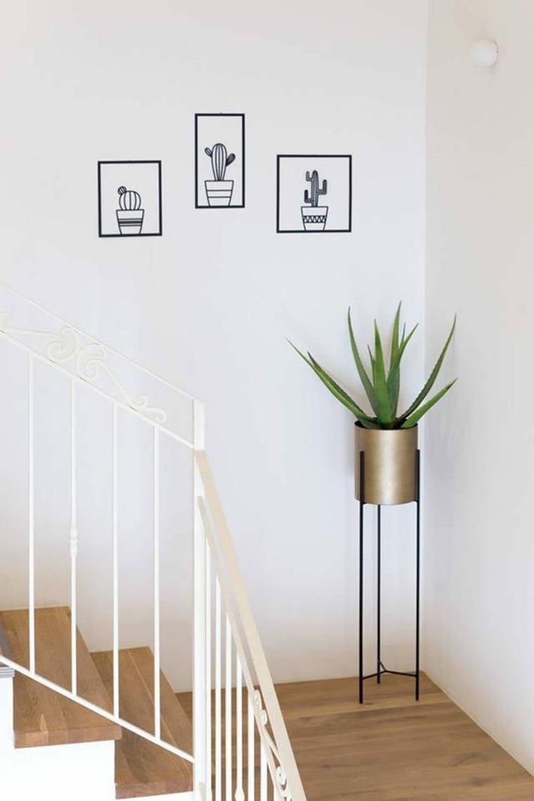 come decorare le scale con vasi di piante succulente scalini rivestimento in legno