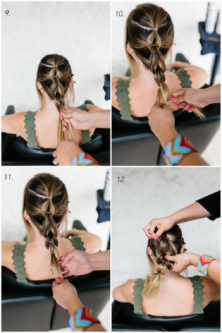 come fare una treccia tutorial acconciature da sera fai da te donna con capelli biondi