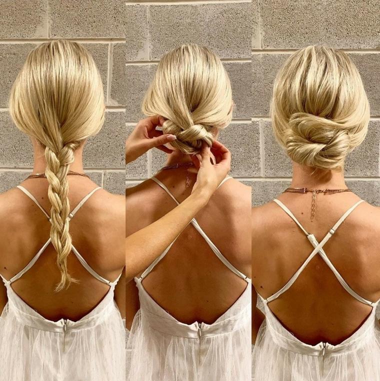 come raccogliere i capelli in modo semplice acconciatura con treccia legata a chignon