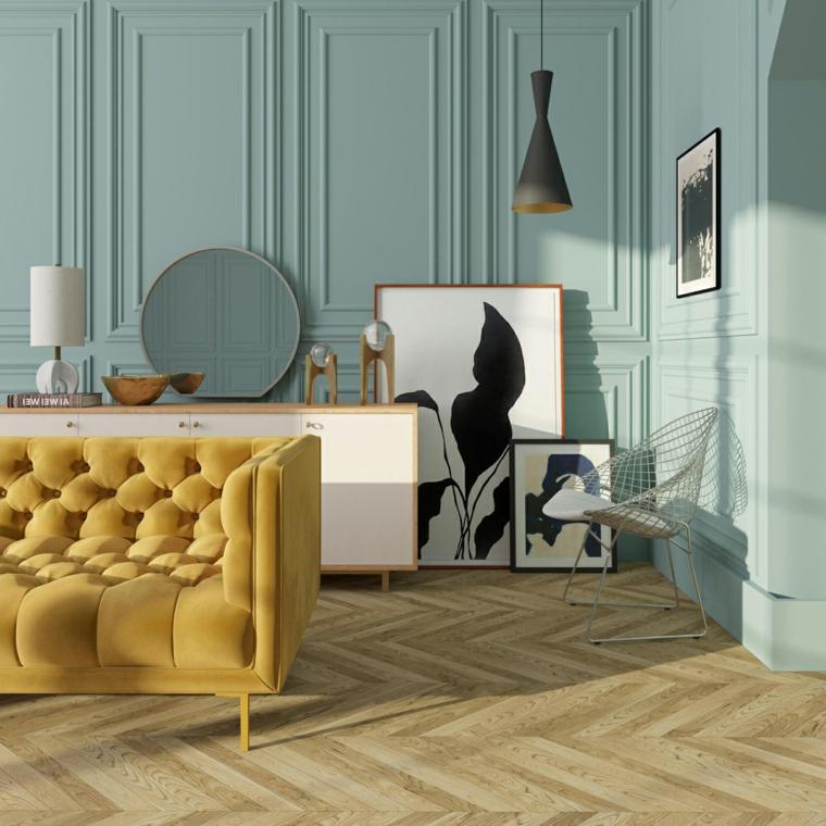 idee per tinteggiare il salotto parete con boiserie in legno color blu acqua