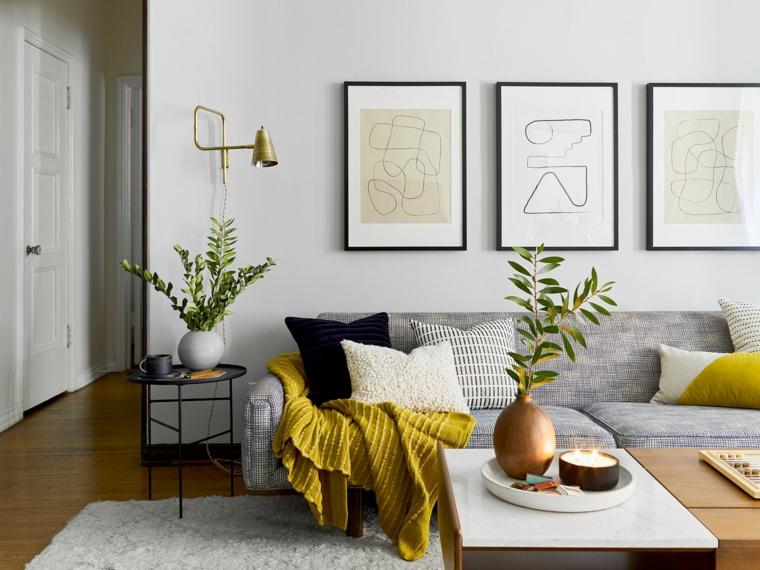 idee pittura pareti soggiorno salotto con divano grigio parete tinta di bianco crema