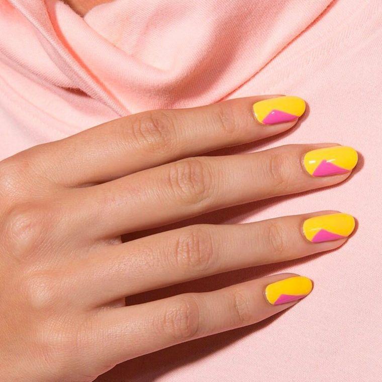 manicure a mandorla unghie color pastello smalto giallo e rosa