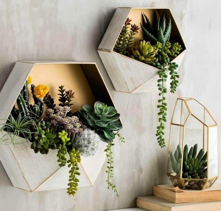 mini terrarium da parete come curare le piante grasse succulente appese