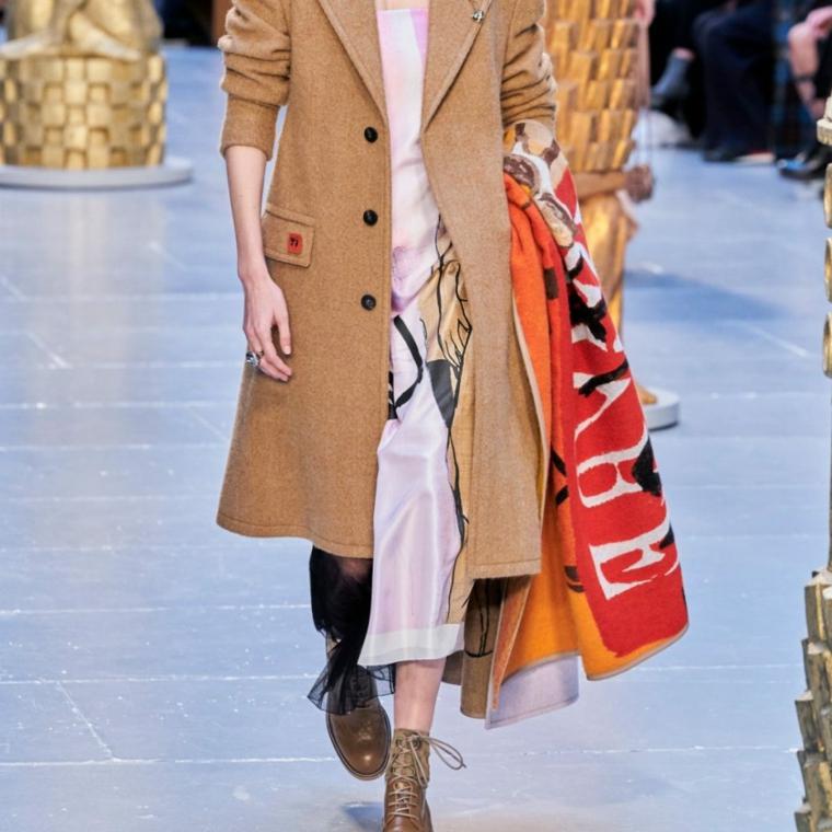 moda inverno 2021 cappotto beige con bottoni colorati abbinato a sciarpa