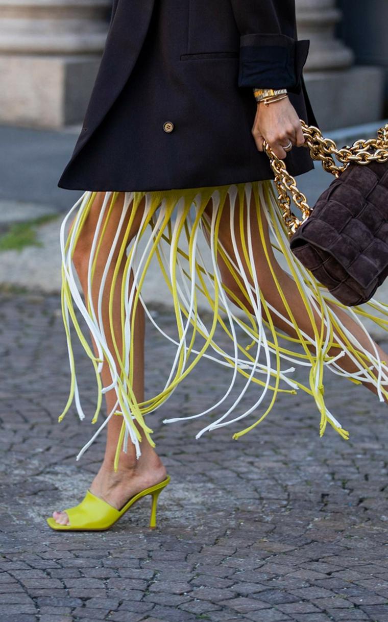 moda trends 2021 abito giallo con frange cappotto nero lungo fino alle ginocchia