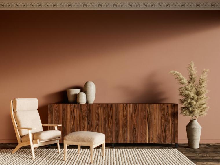 moderno idee pittura pareti soggiorno colore terra per i muro salotto con mobile in legno