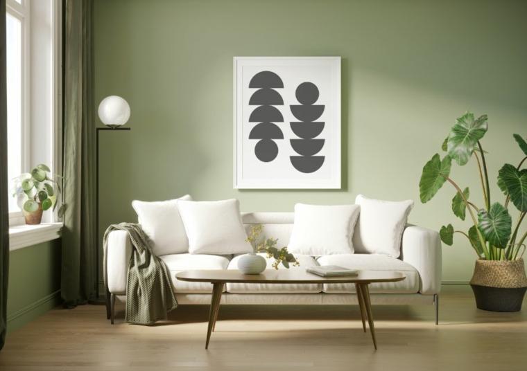 moderno idee pittura pareti soggiorno muro dipinto di colore verde