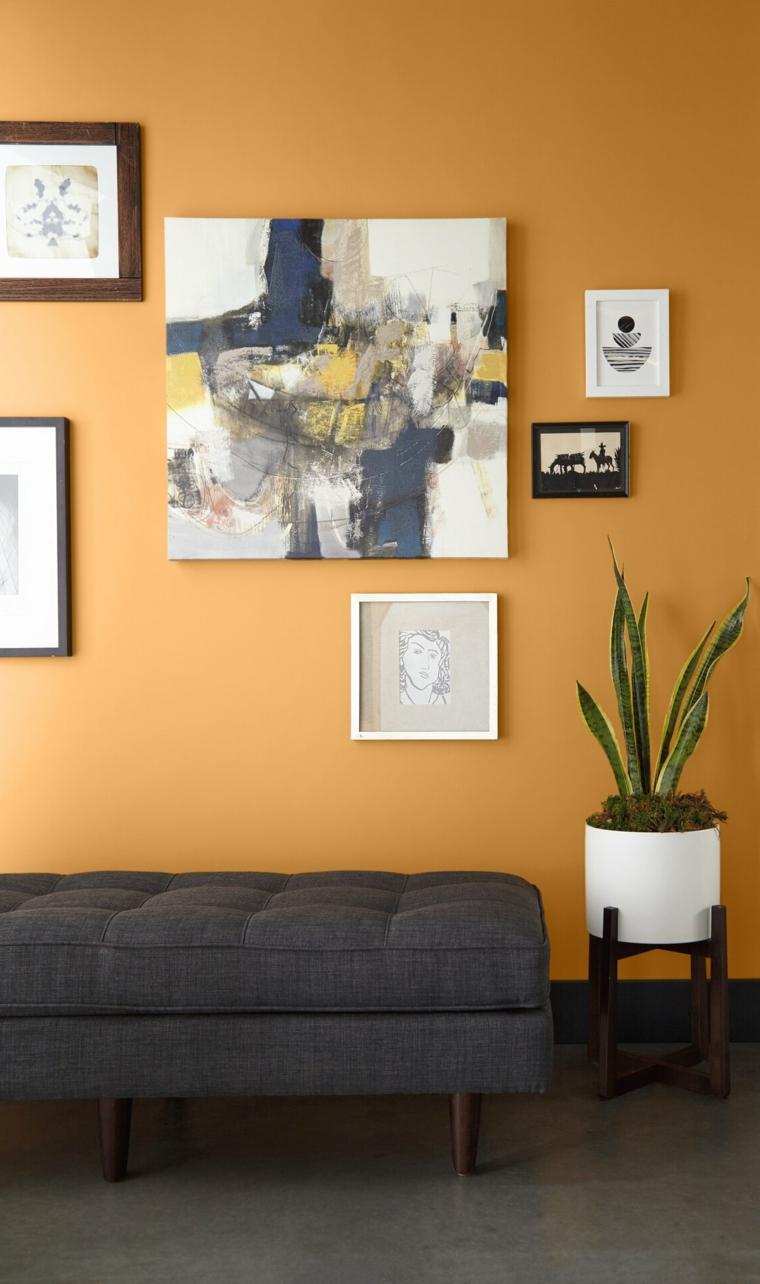 moderno idee pittura pareti soggiorno muro tinteggiato di colore arancione