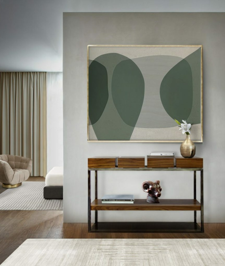 mura tinteggiate di bianco con accenti in verde oliva salotto con divano