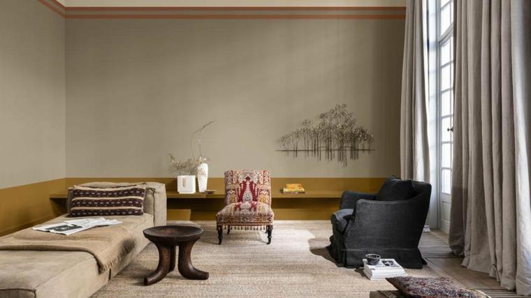 muro dipinto di colore grigio e giallo pareti colorate soggiorno decorazione con tende abbinate