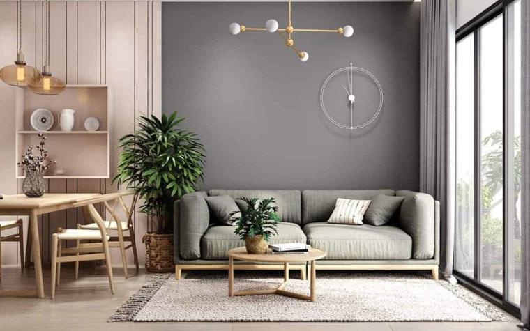 open space soggiorno e cucina tendenze colori pareti 2021 muro dipinto di grigio