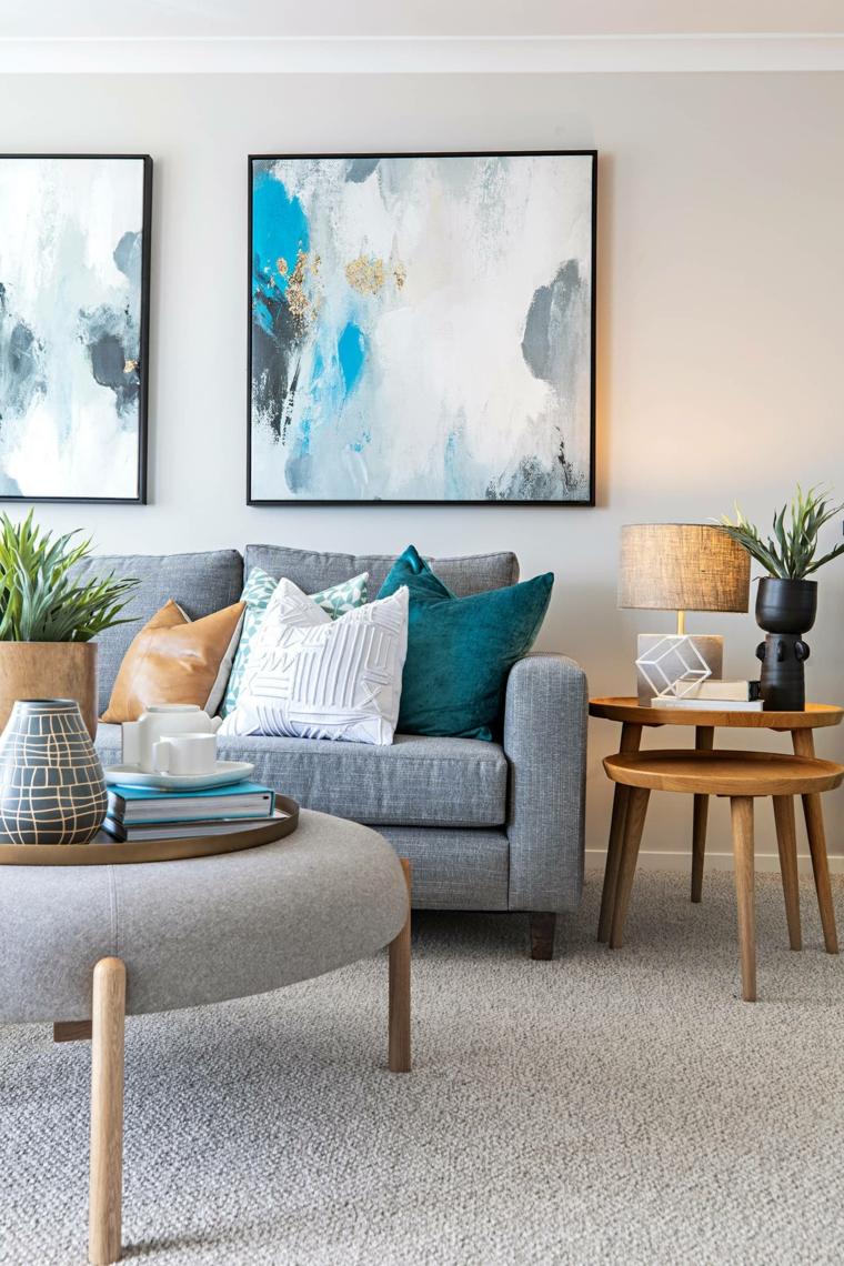pareti colorate soggiorno divano grigio muro dipinto di tortora