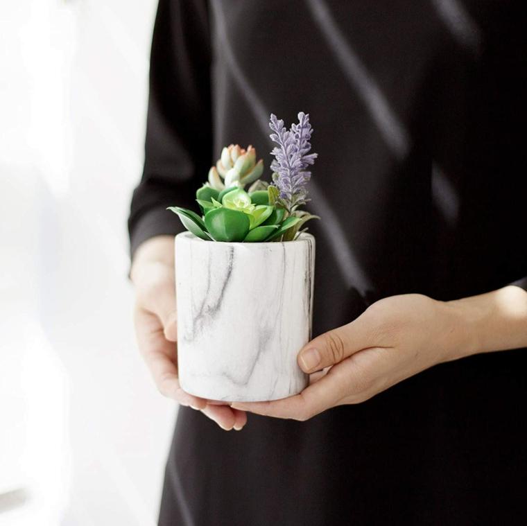 piante grasse con fiori donna che tiene un vaso di succulenta