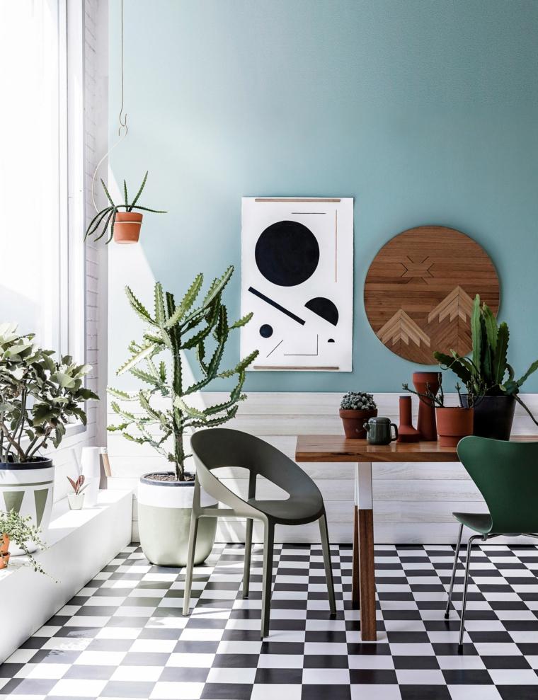 piante ornamentali da interno sala da pranzo con vasi di piante dalla foglia verde