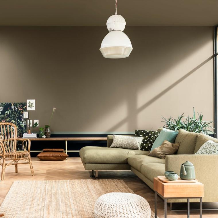 pitture particolari moderne muro di colore grigio salotto con divano angolare