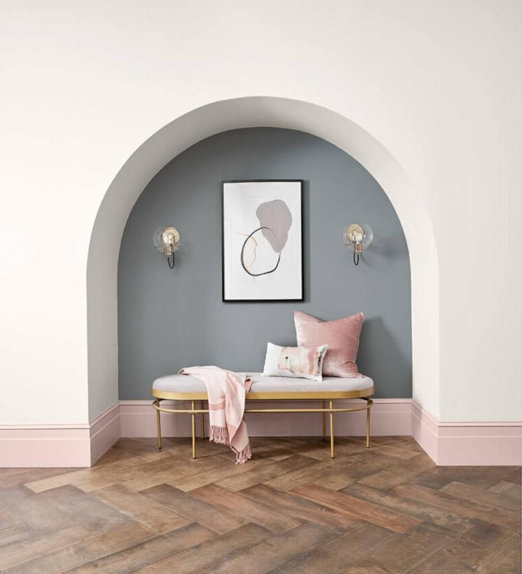 pitture particolari moderne muro dipinto di grigio e bianco pavimento in legno parquet