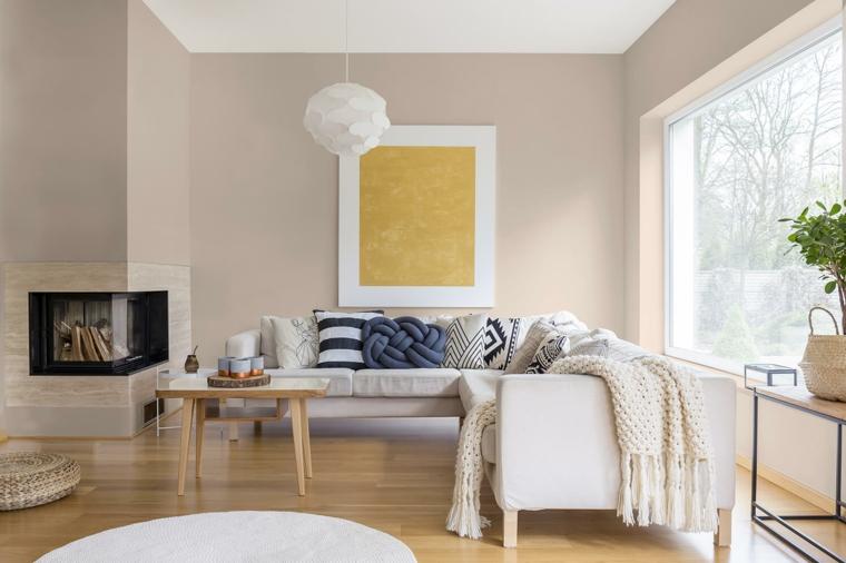 salotto con muri tortora idee pittura pareti soggiorno camino ad angolo