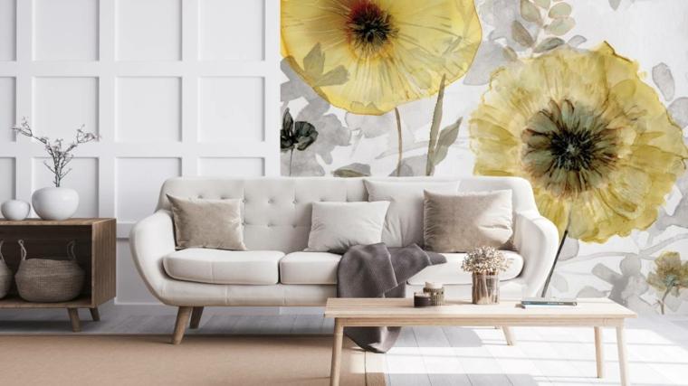 soggiorno con carta da parati floreale muro salotto boiserie in legno bianco