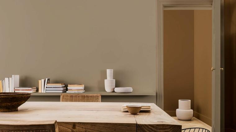 tendenze colori pareti 2021 muro dipinto di colore grigio sala da pranzo