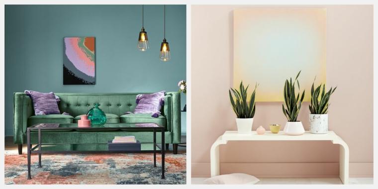 tonalità di verde per pareti interne soggiorno con muro tinteggiato colorato