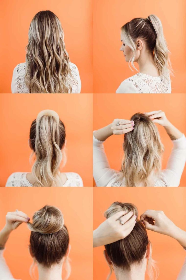 tutorial per fare lo chignon acconciature da sera per capelli lunghi biondi