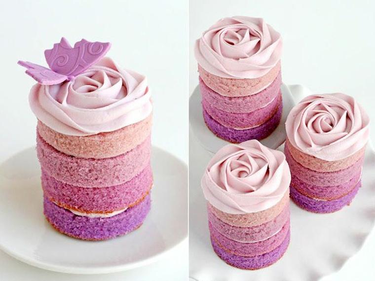 rose cake violet decorazioni torte con panna strati colorati di pan di spagna